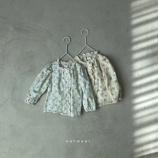 【80~120cm】 fine flower blouse _ oatmeal (2色)