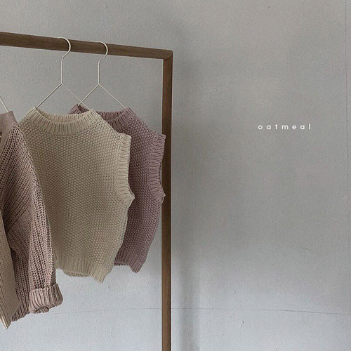 【80~120cm】 mellow cotton vest _ oatmeal (2色)